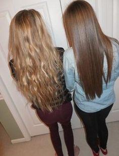 wavy and straight long hair
