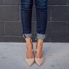 nude lace up pumps xx Women's Shoes, Mode Shoes, Me Too Shoes, Shoe Boots, Fashion Mode, Look Fashion, Fashion Shoes, Fashion Outfits, Fashion Trends