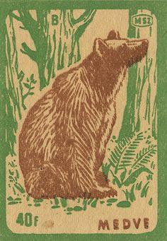 Vintage bear in the woods matchbox label.