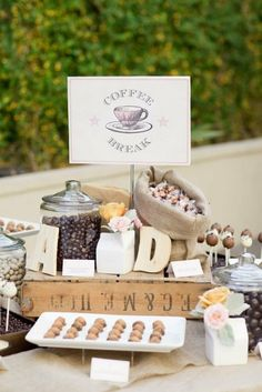 Flavored syrup, coffee, pastries, and chocolate covered beans or gourmet coffee as favors