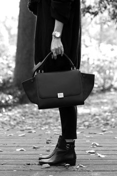 classic watch, Celine bag & booties #style #fashion