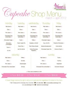 cupcake shop menu plan for a week. specific flavors a certain days