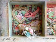 45 Time to Celebrate Shabby Chic Shadowbox by Yumi Graphic 45, Time To Celebrate, Shadow Box, Trays, Shabby Chic, Card Making, Lily, Paper Crafts, Layout
