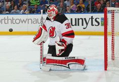 BUFFALO, NY - OCTOBER 9: Cory Schneider #35 of the New Jersey Devils tends goal against the Buffalo Sabres during an NHL game on October 9, 2017 at KeyBank Center in Buffalo, New York. (Photo by Bill Wippert/NHLI via Getty Images)