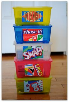 use old wipe containers to store card games