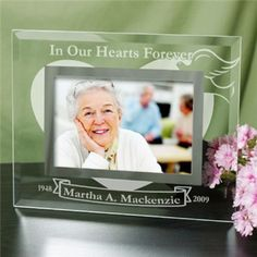 Engraved Memorial Glass Picture Frame - Personalized Sympathy Gift A Personalized Memorial Picture Frame is a personalized sympathy gift that says everything you feel in your heart when the words are