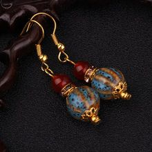 New Ethnic gold earrings brand handmade vintage jewelry,Chinese wind ceramics dangle earrings(China (Mainland))