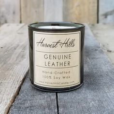 Man Candle - Genuine Leather Scented Soy Candle w/ Wood Wick, Hand-Crafted by Harvest Hills
