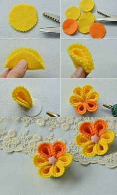 Half circle yellow, half orange instead Do you want to make this yellow brooch flower jewelry Ideas, Craft Ideas on flower jewelry Rainbow's Crafts and Creations: How to Make Simple Felt Flowers Pandahall Learning Center provides jewelry craft tutori Cloth Flowers, Felt Flowers, Diy Flowers, Fabric Flowers, Felt Diy, Felt Crafts, Fabric Crafts, Sewing Crafts, Felt Patterns