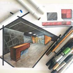 Быстрый #Sketch стойки ресепшн. #Sketch - это идеальное средство для поиска формы и объема создаваемого пространства. При помощи спиртовых маркеров, вы можете набросать будущие предметы интерьера. Не бояться экспериментировать и дать полную волю полету своей фантазии✍