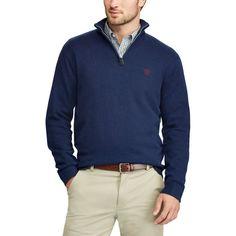 Men's Chaps Classic-Fit Cool Max Stretch Quarter-Zip Sweater, Size: Medium, Blue (Navy)
