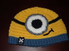 Yellow Minion Hat by AntiJolly - Infant Toddler Adult sizes - With or without Earflaps