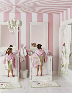 Kids bath w/ pink circus tent stripe walls. Don't like the striped ceiling much, but the idea of having a pull out drawer/step stool is wonderful. No more little stool to trip over! Little Girl Bathrooms, Bathroom Kids, Kids Bath, Shared Bathroom, Design Bathroom, Girl Room, Girls Bedroom, Bedrooms, Bedroom Decor