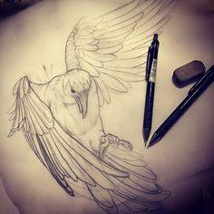 Crow sketch. Getting ready for a few weeks ahead. #crow #crowtattoo #crowdesign #draw #drawing ...