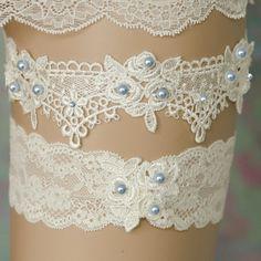 Something Blue Garter Lace & Pearl Bridal Garter Light Blue