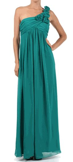 Teal Green One Shoulder Gown for Only $76.99 #tealgreen #gown