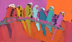 "Darwin Aboriginal Art Fair's 10th Edition Karen Napaljarri Barnes, ""Jurlpu kuja kalu nyinami Yurntumu-wana (Birds that live around Yuendumu),"" 2015 (detail)"