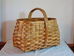 Vintage Wood Splint Market Basket, Farmhouse Woven Splint Gathering Basket, Spanish Basket, Rustic Country Garden Primitive Handmade Cabin