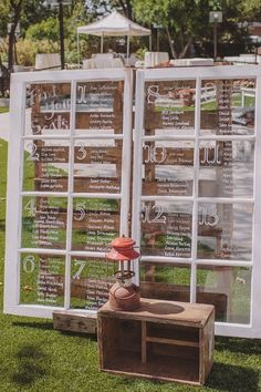 wondow seating chart wedding ideas / http://www.deerpearlflowers.com/diy-window-wedding-ideas/