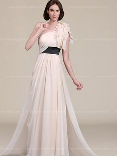 Long mother of the bride dress features in Chiffon. One-shoulder bodice is adorned with flutter detail. A wide Satin belt with flowing gown provides figure flattering appeal and creates a gorgeous shape. Hidden back zipper. This dress is fully lined. Available in 60 colors, shown in Champagne/Black, Pool/Black, Pink/Black, Sunshine/Black, Lavender/Black, and Pistachio/Black.