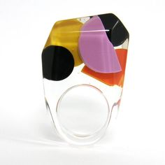 Plus Size $40.00 Color block resin ring by Sisicata. Has been sold but can you can contact designer and request. Can be custom ordered in any size #PlusSize