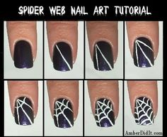 Spider Web Nail Art Tutorial for Halloween Nail Art Fancy Nails, Love Nails, How To Do Nails, Pretty Nails, Do It Yourself Nails, Do It Yourself Fashion, Nail Art Diy, Diy Nails, Nail Art Halloween