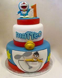 Torta di Doraemon n.49 Doraemon Cake, Baby Birthday Cakes, Birthday Ideas, Mickey Cakes, Character Cakes, Themed Cakes, Chiffon Cake, Cake Designs, Fondant