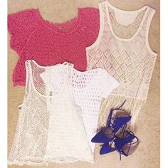 LACE BUNDLE  Includes two tanks, a tee, and a crochet top. Fishnet tank is a bit discolored, gives off a vintage feel. Lace tank has gorgeous fringe detail on the hem. Crochet top is a beautiful coral color. Shoes not included! Tops