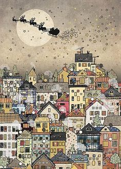 Christmas Cards - Town Sleigh - christmas card design by Jane Crowther for Bug Art greeting cards. Noel Christmas, Christmas Paper, Vintage Christmas Cards, Xmas Cards, Vintage Cards, Christmas Crafts, Christmas Card Designs, Christmas Cookies, Christmas Ideas