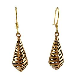 Real Bronze Stripe Filigree Cone Shaped Drop Dangle Earrings Fish Hook Bronze Jewelry Gifts by LynnAround -- Awesome products selected by Anna Churchill