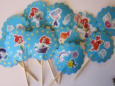 12 The Little Mermaid Ariel Party Picks by Colorpicks on Etsy, $6.00