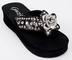 Grazie Flip Flop Shoes Solstice Black Snake Leather Flower Crystal Sandal 6 - 11 #Grazie #FlipFlops