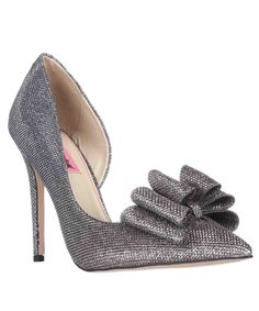 BETSEY JOHNSON | Betsey Johnson Prince Dorsay Bow Toe Pumps, Pewter #Shoes #Pumps & High Heels #BETSEY JOHNSON
