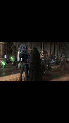 Darth Malgus and Eleena in the Jedi temple before the Sith attack