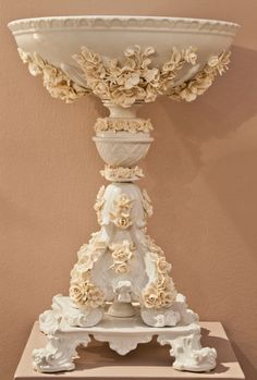 Center piece, hand made flowers, white and Ivory porcelain
