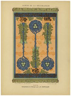 1900 - via MCAD Library - Pl. 24: Tapis; interpretation de l'oranger par L.-H. Bonvallet [Carpet; interpretation of an orange tree by L.-H. Bonvallet]