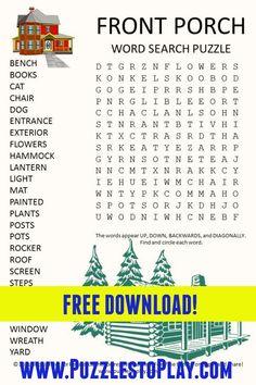 Free Printable Crossword Puzzles, Free Printable Word Searches, Free Printable Worksheets, Free Printable Coloring Pages, Puzzle Games, Puzzle Books, Travel Activities, Preschool Activities, Spring Word Search