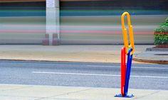 Cool giant paper clips bike rack in Washington D.C.