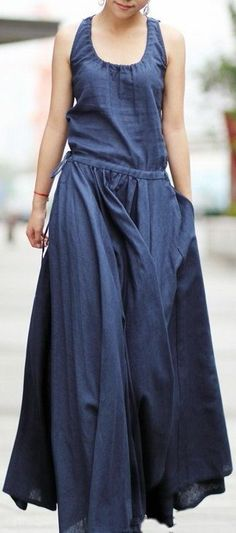 2014 Women's ultra long Linen dress Maxi dress Women Casual summer Party dress 2014 Frauen ultra langes Leinen Kleid Maxi Kleid Frauen Casual Sommer Party Kleider Casual Summer Dresses, Trendy Dresses, Casual Dresses For Women, Dress Summer, Dress Casual, Summer Clothes, Outfit Summer, Work Clothes, Maxi Outfits