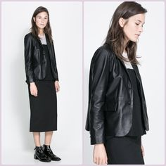 Zara Leather Blazer More pictures Ching soon!  In perfect condition Zara 100% leather blAzer.  Super cute!! Zara Jackets & Coats Blazers