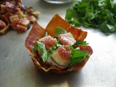 Prosciutto cups stuffed with goat cheese and fig