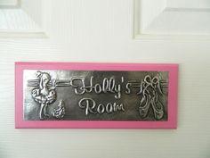 Girls Room Door Sign Plaque Ballerina personalised £18.00