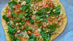 Pizza de garbanzos cocidos con espinacas White Beans, Green Beans, Empanadas, Sin Gluten, Vegetable Pizza, Quinoa, Keto Recipes, Sandwiches, Paleo