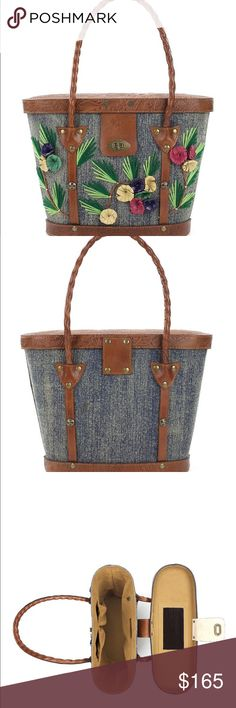 """Patricia Nash Levanzo Denim Market Tote Patricia Nash, the Levanzo tote features: design reminiscent of straw market satchels common in resort areas around the world in the 1940s cotton denim with handmade leather flowers and yarn hand-tooled leather trim signature antique brass hardware turn-lock closure fully-lined interior zip pocket, 2 slip pockets and mirror inside protective feet approx. 11(W) x 10(H) x 6(D)""""; 10"""" handle drop Patricia Nash Bags Totes"""