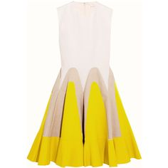DELPOZORuffled Linen-paneled Cotton-poplin Dress (6.995 BRL) ❤ liked on Polyvore featuring dresses, yellow, linen dresses, ruffle hem dress, yellow linen dress, yellow dress and flounce hem dress