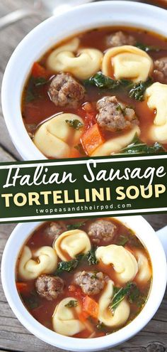 Give this Italian Sausage Tortellini Soup a try! Everyone always requests this easy recipe. Full of flavor from Italian sausage, cheese, pasta, and veggies, you can get an entire meal in one bowl! A hearty and comforting dinner perfect for the cold weather! Save this pin! Healthy Soup Recipes, Easy Dinner Recipes, Real Food Recipes, Italian Sausage Tortellini Soup, Vegetarian Soup, Gnocchi, Grilling Recipes, Soups And Stews, Ricotta