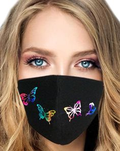 If you have to wear a mask for safety, why not wear it in style? Get this black mask the design you want, and get the other for free. Mouth Mask Fashion, Fashion Face Mask, Easy Face Masks, Diy Face Mask, Rave Mask, Butterfly Face, Butterfly Print, Cool Face, Face Face