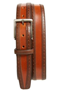 Canali Brogue Calfskin Leather Belt $245
