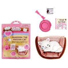 Lottie loves Pandora and Pandora loves her back! This Lottie Doll Pandora the Persian Cat Accessories Set from Schylling includes Pandora kitty, cat bed, cat toy and cat food.