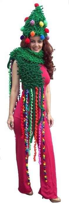 Tacky Christmas Fashion: I shall crochet a lovely Christmas hat for you. Tacky Christmas Party, Funny Christmas Tree, Christmas Day Outfit, Crochet Christmas Gifts, Christmas Humor, Crochet Gifts, Christmas Hat, Christmas Ideas, Holiday Crochet